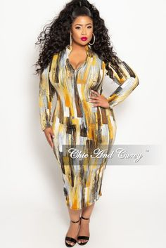 9f788c155ba9 New Plus Size Reversible Long Sleeve BodyCon Dress in Mustard White Br –  Chic And Curvy