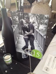 Custom Photo Wedding Table Numbers - Love the idea of have a pic of the couple with the table number