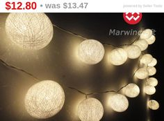 35 White Color Cotton Balls Fairy String Lights by marwincraft