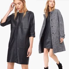 Leather Dress & Wool Coat @closedofficial available at #LeMaraisMaastricht #CLOSED #leatherdress #woolcoat #greycoat #winter #AW #Maastricht #shopping