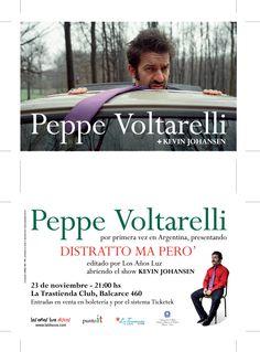 Distratto ma pero, de Peppe Voltarelli y Kevin Johansen. Postal promocional. Diseño de Carlos Carpintero para ZkySky.