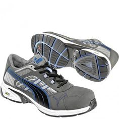 642595 Puma Men s Pace Low Safety Shoes - Grey Blue www.bootbay.com 150d0b68e