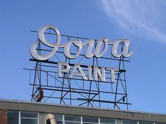 Iowa Paint rooftop sign. Des Moines Iowa, Neon Rainbow, Office Signs, Brew Pub, Wayfinding Signage, Antique Paint, Tear Down, Distillery, Vintage Signs