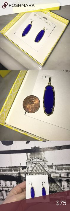 """Kendra Scott Layla Oblong Drop Earrings Cobalt NIB Size: 1.88""""L X .5""""W on earwire. Purchased from Neiman Marcus. New and never worn. Sold out everywhere! Color of the season. Perfect for a gift! Kendra Scott Jewelry Earrings"""