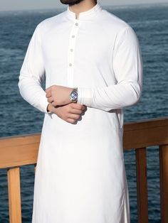 Simple & Embellished Kurta Designs by J.J Majestic Eid Collection… Simple Kurta Designs, Mens Kurta Designs, White Kurta Men, Punjabi Kurta Pajama Men, Waistcoat Designs, Mens Shalwar Kameez, Boys Kurta Design, Gents Kurta, Moslem