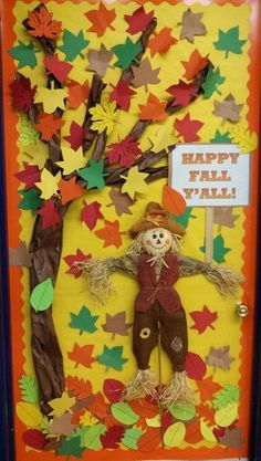 Easy and creative halloween diy door decorations at school 18 ~ Home Design Ideas Fall Classroom Door, Fall Classroom Decorations, Classroom Crafts, School Decorations, Fall Decorations, Class Decoration Ideas, Decor Ideas, Thanksgiving Classroom Door, Classroom Ideas