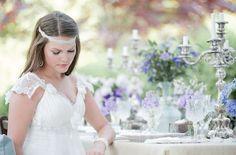 Lavender Wedding Inspiration by Krista Fox, Dress by Sarah Houston, Jewelry by Tara Fava