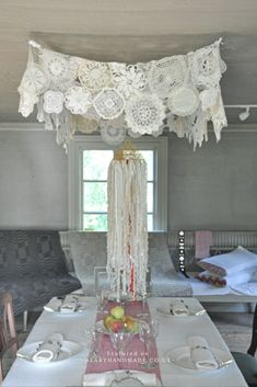 DIY Doily Ceiling Decoration for Dinner Party - 15 More Fascinating Doily Crafts You'll Want To Make Immediately!