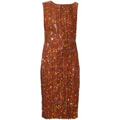 Nina Ricci Sequin-embellished pleated dress ($1,466) ❤ liked on Polyvore featuring dresses, cocktail dress, nina ricci, brown sequin dress, party dresses, embellished dress, cocktail party dress and metallic sequin dress