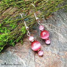 "Pink Cat's Eye Dangle Earrings - ""Gumball Pink"" - Fiber Optic Glass - Czech O Beads - Handmade - Gift for Her by RavenGwenDesigns on Etsy"