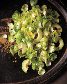 Brussels Sprout Salad with Avocado & Pumpkin Seeds. No roasting pan necessary for these adorable cabbage cousins: Tossed with avocado and coated in a bright lemon-Dijon dressing, the tender brussels sprout leaves make a showstopping salad. Side Dish Recipes, Raw Food Recipes, Vegetable Recipes, Fall Recipes, Healthy Recipes, Dinner Recipes, Healthy Food, Dessert Recipes, Healthy Eating