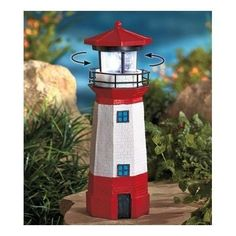 Solar Red  White Lighthouse W Rotating Lamp Garden Statue Decor Light House JM545744565467341158366 >>> Details can be found by clicking on the image.