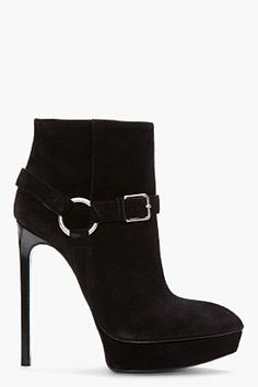 Saint Laurent Black Suede Janis Buckle Boots  - Bitch, you're fabulous.