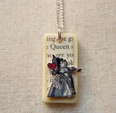 ALiCe in WoNdErLaNd DoMiNo NeCkLaCe  QuEEn of by CraftyJewells, $9.00