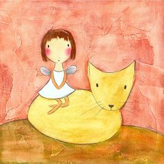 Grafik  Fee mit Kitten von carlasonheim auf Etsy