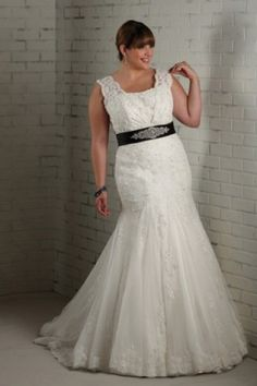 2013 Style Trumpet / Mermaid Strapless Belt Sleeveless Sweep / Brush Train Lace Wedding Dresses For Brides_Plus Size_Bridal_Find Beautiful Wedding Dresses, best wedding gowns, Buy New Bridal dress on line | Vogueseason.com bridal shop