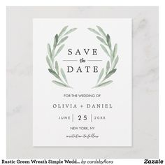 Rustic Green Wreath Simple Wedding Save the Date Announcement Postcard