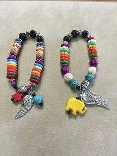 Howlite and Lava Beads Essential Oils Stretchy Bracelets
