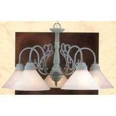 Classic Lighting Biltmore 5 Light Shaded Chandelier Finish: Verde/Polished Brass, Shade Glass: Clear Glass