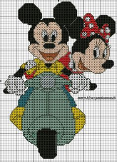 Schema punto croce topolino e minnie in vespa cross stitch designs, disney Cross Stitch Disney, Disney Cross Stitch Patterns, Cross Stitch Baby, Cross Stitch Charts, Cross Stitch Designs, Cross Stitching, Cross Stitch Embroidery, Baby Motiv, Motifs Perler