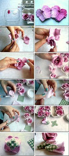 Rosas con carton de caja de huevos