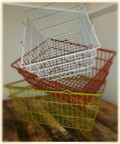 Metal Storage Baskets by MotherHenscc on Etsy just placed an oder for some of these....great for bus storage, now just to build some shelves for them!