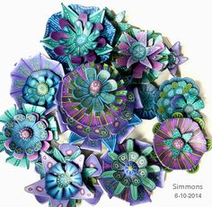 "monet assemblage for ""Modular Flowers"" - a workshop with carol simmons CarolSimmonsDesigns.com"