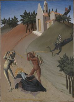 Sano di Pietro : Saint Anthony Abbot Tormented by Demons (Yale University Art Gallery (United States - New Haven, Connecticut)) サノ・ディ・ピエトロ San Antonio Abad, Gravure Photo, Temptation Of St Anthony, St Anthony's, Arte Obscura, Sea Art, Medieval Art, Vintage Artwork, Fantastic Art