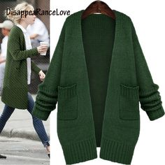 c826d40a3cfca3 DisappeaRanceLove Brand Autumn outerwear female sweater female cardigan  solid color medium-long loose sweater women's Knitting