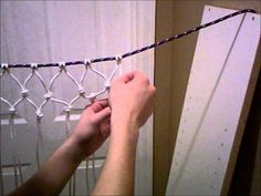 How to make a survival rope bag, net,or hammock. Is part one one two. video.