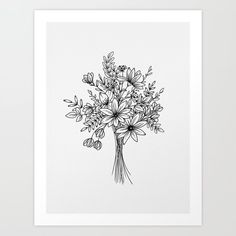 Flowers drawing ink doodles new ideas Flower Bouquet Drawing, Flower Art, Drawing Flowers, Bouquet Flowers, Painting Flowers, Hand Drawn Flowers, Art Floral, Floral Drawing, Wildflower Drawing