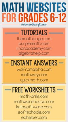 Free Math Websites for Grades 6-12 - great for homeschool math #STEM #education… Clique aqui http://www.estrategiadigital.pt/e-book-gratuito-ferramentas-para-websites/ e faça agora mesmo Download do nosso E-Book Gratuito sobre FERRAMENTAS PARA WEBSITES