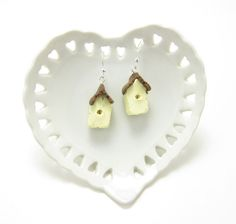 Birdhouse Earrings Polymer Clay Yellow Bird House Sterling Silver - Brown Eyed Rose - Handmade jewelry and gifts for every occasion