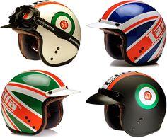 Classic helmets from Lambretta Custom Motorcycle Helmets, Custom Helmets, Racing Helmets, Motorcycle Gear, Biker Helmets, Women Motorcycle, Scooter Helmet, Cafe Racer Helmet, Bicycle Helmet
