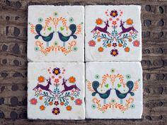 Peasant Print Stone Coasters by ZNRDesign