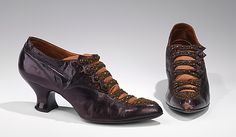 Shoes, Evening  A.E. Little & Co.  (American, 1898–1934)    Date:      ca. 1916  Culture:      American  Medium:      leather  Dimensions:      5 1/4 x 10 1/2 in. (13.3 x 26.7 cm)  Credit Line:      Brooklyn Museum Costume Collection at The Metropolitan Museum of Art, Gift of the Brooklyn Museum, 2009; Gift of Theodora Wilbour, 1932  Accession Number:      2009.300.1423a, b