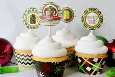 Ugly Christmas Sweater Party Printable Party Circles, great cupcake toppers! Would be cute stickers too