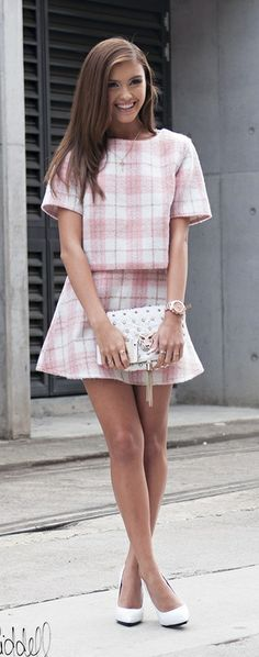 pink plaid summer dress