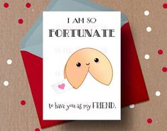 Friend Valentine Card, Friendship Card, Fortune Cookie, Chinese Food, Funny Printable Valentines Day - Food and Drink Best Friend Valentines, Kinder Valentines, Friends Valentines Day, Valentine Day Cards, Valentines Diy, Printable Valentine, Homemade Valentines Day Cards, Valentine Wreath, Valentine Decorations