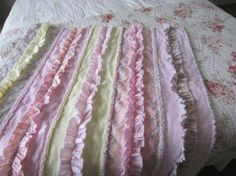 RUFFLED ROWS RaG QUILT Handmade Shabby Chic Ready To by jlquilts, $75.00