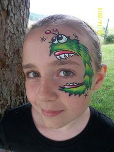 Eyebal eating silly monster face painting