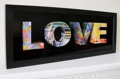 3D letters from repurposed magazine pages by sherri
