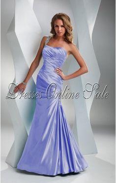 Beautiful Sheath Floor-length One Shoulder Lavender Satin Dress Satin  Dresses 0840df8a9