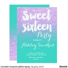 Lavender turquoise glitter typography Sweet 16 Card