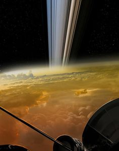 NASA's Cassini spacecraft continues making history. As Cassini is plunging into Saturn, the spacecraft has managed to send back to Earth unprecedented, stunning images from its descent down the mysterious gap located between Saturn and Cosmos, Space Planets, Space And Astronomy, Albert Jacquard, Planets And Moons, Hubble Space Telescope, Images Google, Space Photos, Carl Sagan