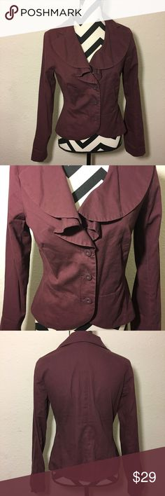 """Anthropologie odille blazer Anthropologie odille cropped blazer • ruffled notch collar • button front • plum color • good condition • size 8 • approximate measurements made flat and not stretched • chest 19"""" • sleeves 24"""" • length 22.5"""" Anthropologie Jackets & Coats Blazers"""