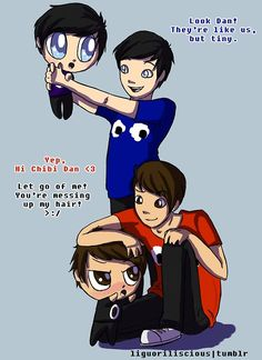 OMG SO CUTE! <<< For some reason I thought of Phil (both phils) as John and Dan as Dave but chibi Dan as Karkat, anyone else gets it? Markiplier, Pewdiepie, Dan And Phil Fanart, Bae, Dan And Phill, Phil 3, Danisnotonfire And Amazingphil, Cat Whiskers, Tyler Oakley