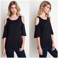 "X ""Parallax"" Cold Shoulder Flutter Top / Tee Flutter sleeve top with a cold shoulder. Perfect casual wear! Available in black and burgundy. This listing is for the BLACK. Brand new. Bare Anthology Tops Tees - Short Sleeve"