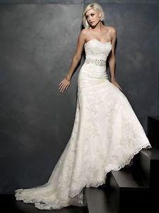 New White/Ivory Lace Bride Wedding Dress Custom Size 2-4-6-8-10-12-14