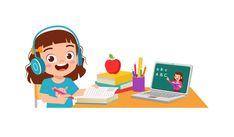 El niño pequeño lindo feliz hace la escu...   Premium Vector #Freepik #vector #escuela Kids Cartoon Characters, Cartoon Kids, E Learning, Daily Routine Activities, Kids Background, Baby Yoga, Kids Study, French Class, School Fun